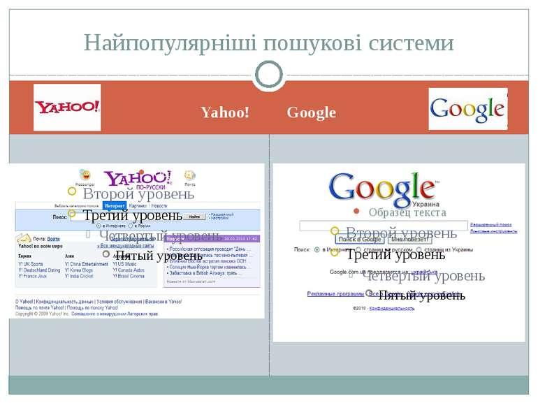 Yahoo! Google Найпопулярніші пошукові системи