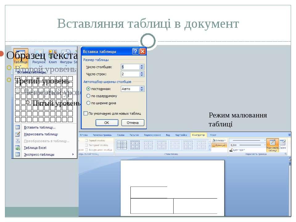 Вставляння таблиці в документ Режим малювання таблиці