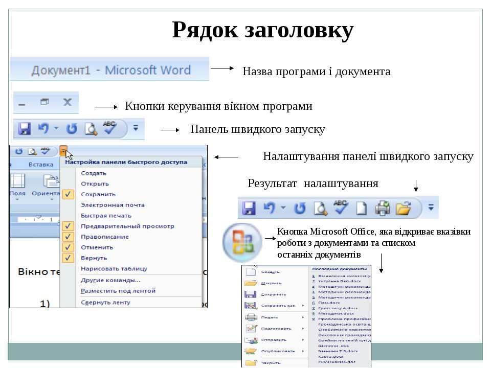 Рядок заголовку Назва програми і документа Кнопки керування вікном програми П...