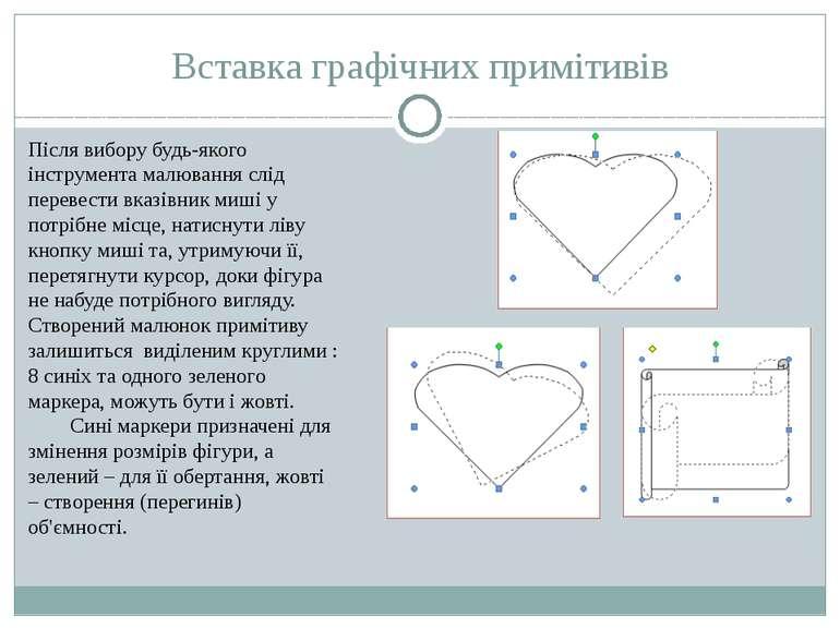 Вставка графічних примітивів Після вибору будь-якого інструмента малювання сл...