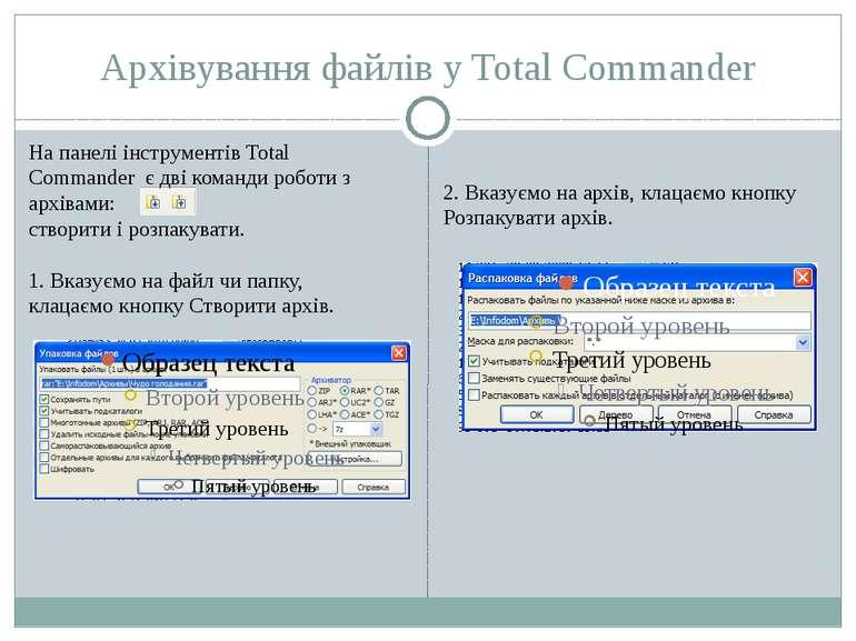 Архівування файлів у Total Commander На панелі інструментів Total Commander є...