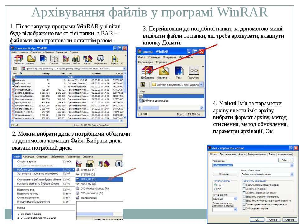 Архівування файлів у програмі WinRAR 1. Після запуску програми WinRAR у її ві...