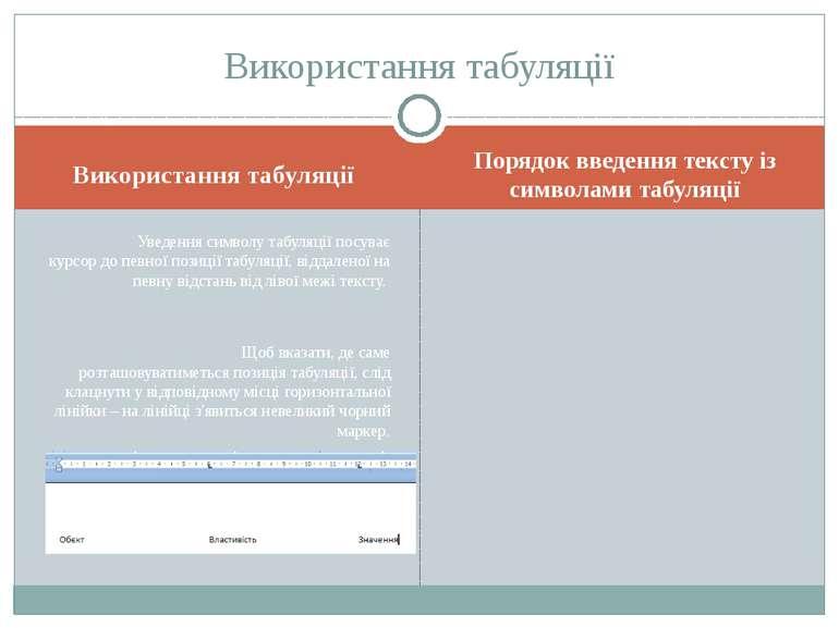 Використання табуляції Порядок введення тексту із символами табуляції Уведенн...