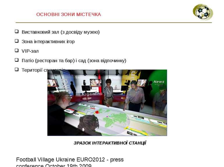 ОСНОВНІ ЗОНИ МІСТЕЧКА Виставковий зал (з досвіду музею) Зона інтерактивних іг...