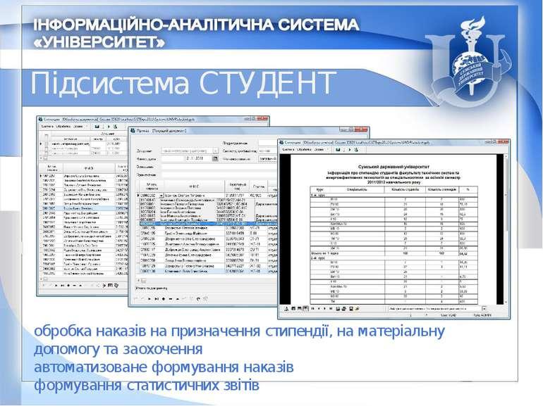 Підсистема СТУДЕНТ обробка наказів на призначення стипендії, на матеріальну д...