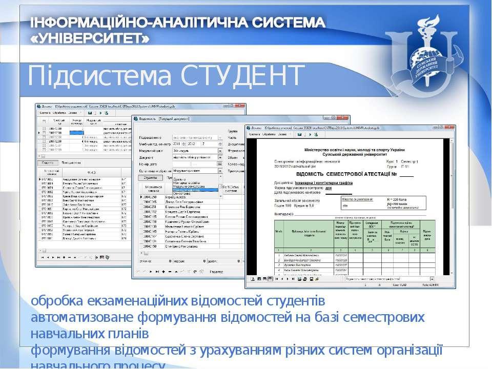 Підсистема СТУДЕНТ обробка екзаменаційних відомостей студентів автоматизоване...