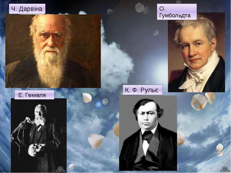 Ч. Дарвіна О. Гумбольдта Е. Геккеля К. Ф. Рульє