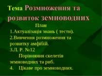 План Актуалізація знань ( тести). Вивчення розмноження та розвитку амфібій. Л...