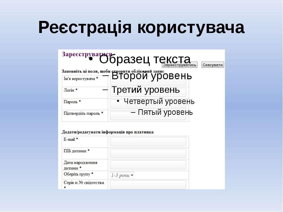 Реєстрація користувача