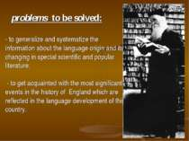 problems to be solved: - to generalize and systematize the information about ...