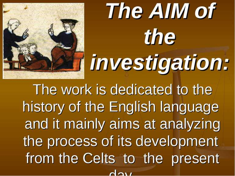 The AIM of the investigation: The work is dedicated to the history of the Eng...