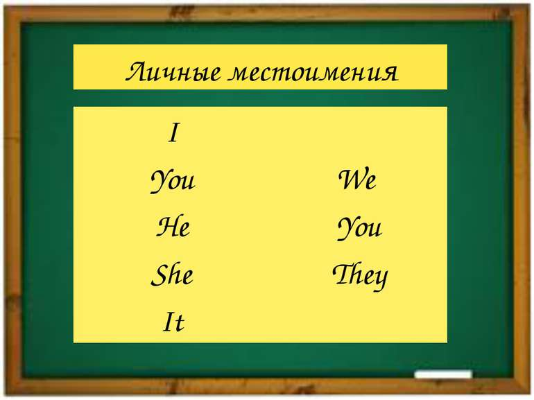 Личные местоимения I You He She It We You They