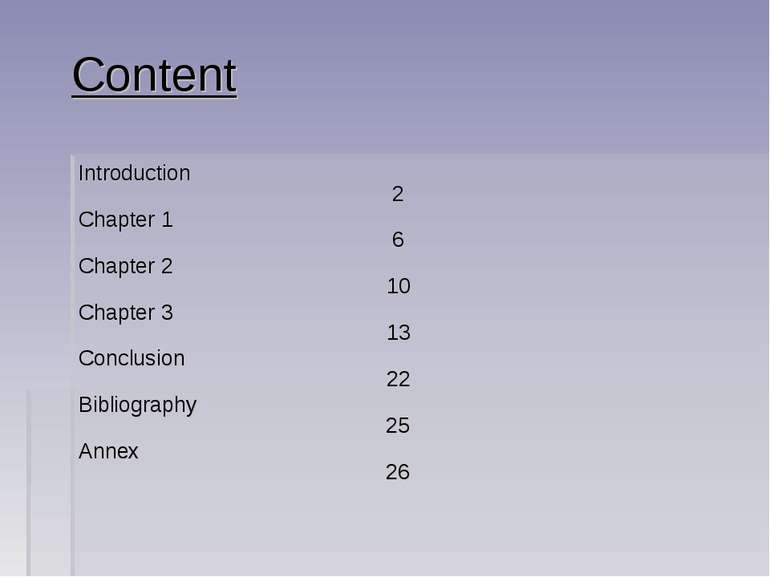 Content Introduction 2 Chapter 1 6 Chapter 2 10 Chapter 3 13 Conclusion 22 Bi...