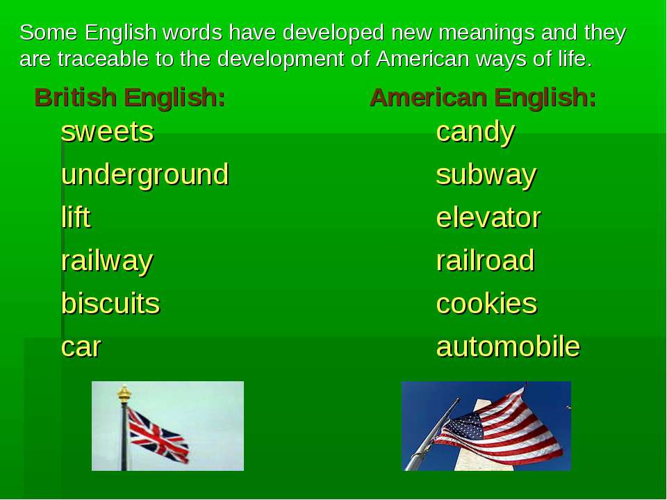 British English: American English: sweets candy underground subway lift eleva...