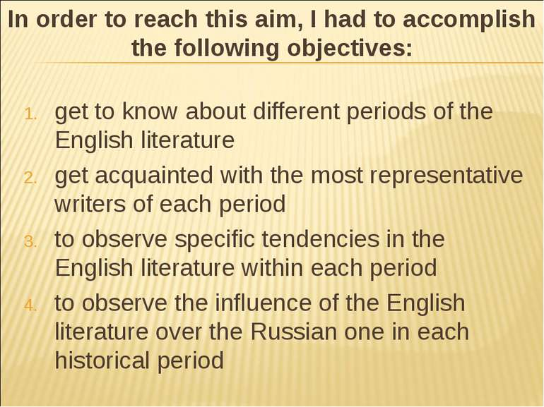 get to know about different periods of the English literature get acquainted ...