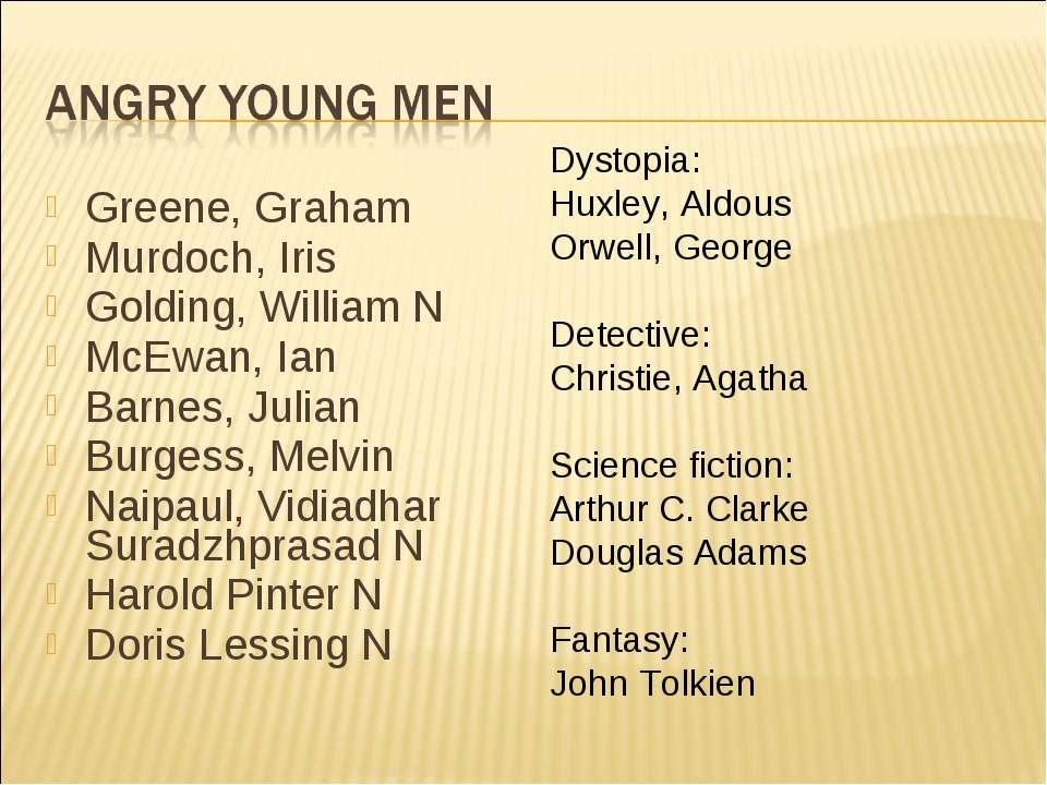 Greene, Graham Murdoch, Iris Golding, William N McEwan, Ian Barnes, Julian Bu...
