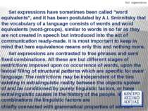 """Set expressions Set expressions have sometimes been called """"word equivalents""""..."""