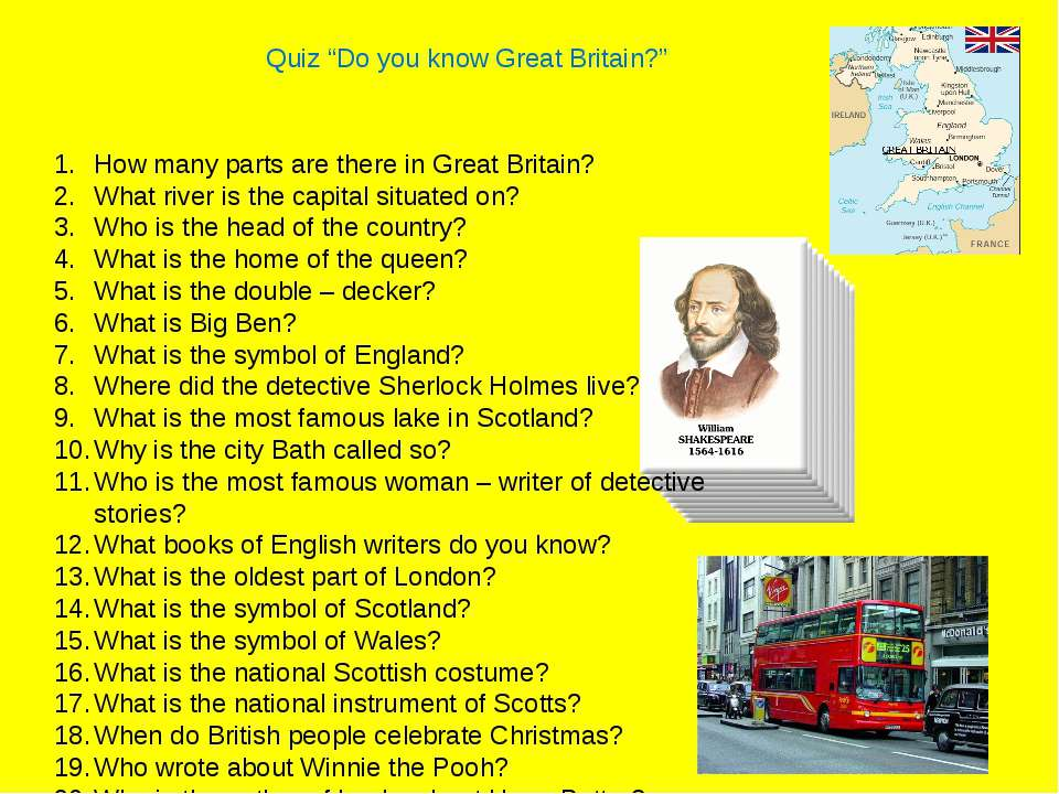 "Quiz ""Do you know Great Britain?"" How many parts are there in Great Britain? ..."