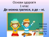 Основи здоров'я 1 клас Де можна гратися, а де – ні. Виконав вчитель початкови...