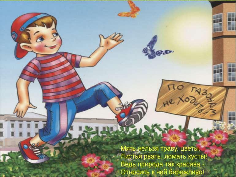 Мять нельзя траву, цветы, Листья рвать, ломать кусты! Ведь природа так красив...