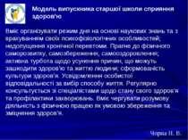 Чорна Н. В. Модель випускника старшої школи сприяння здоров'ю Вміє організува...