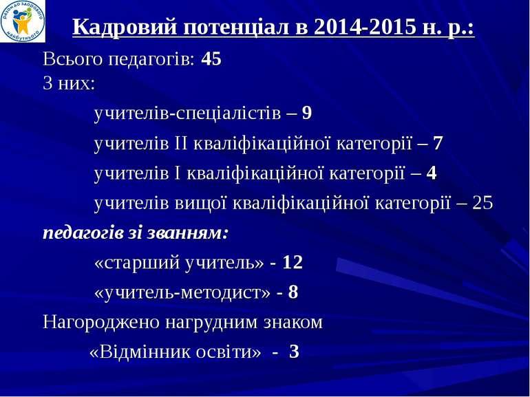Кадровий потенціал в 2014-2015 н. р.: Всього педагогів: 45 З них: учителів-сп...