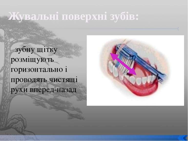 зубну щітку розміщують горизонтально і проводять чистящі рухи вперед-назад Жу...