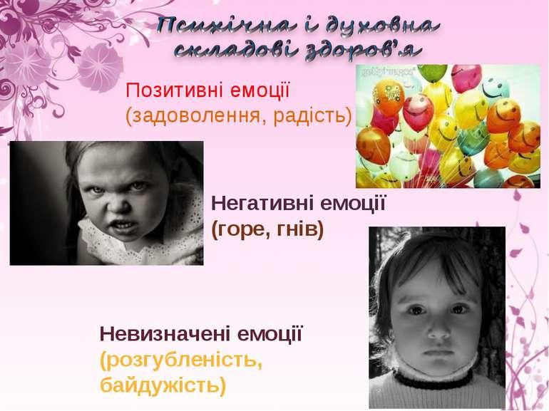 Позитивні емоції (задоволення, радість) Невизначені емоції (розгубленість, ба...