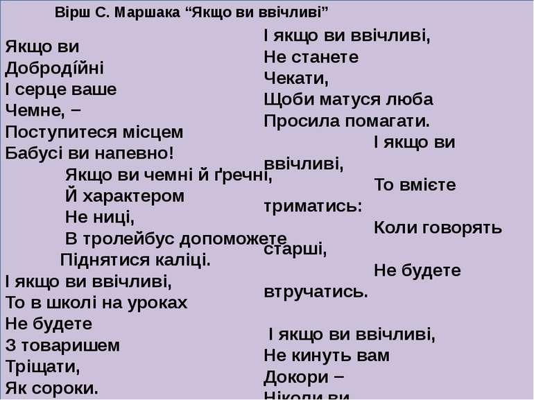 """Вірш С. Маршака """"Якщо ви ввічливі"""" Якщо ви Добродíйні І серце ваше Чемне, − П..."""