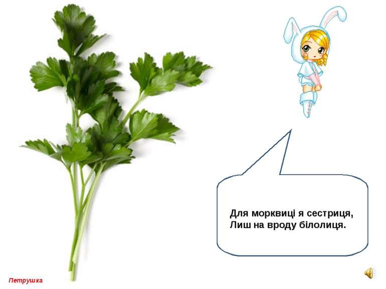 Петрушка Для морквиці я сестриця, Лиш на вроду білолиця.