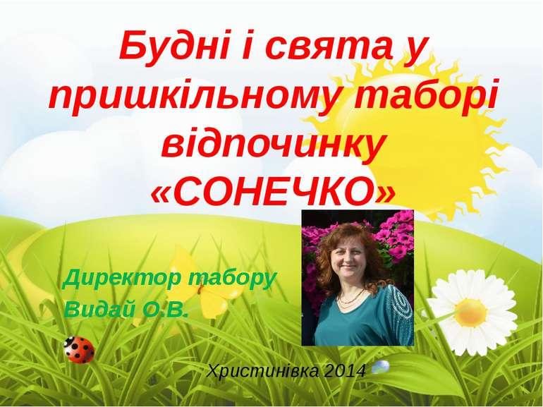 Будні і свята у пришкільному таборі відпочинку «СОНЕЧКО» Директор табору Вида...