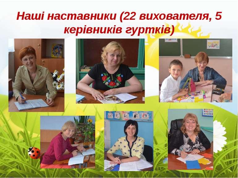Наші наставники (22 вихователя, 5 керівників гуртків)
