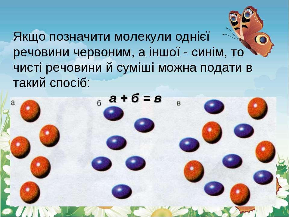 Якщо позначити молекули однієї речовини червоним, а іншої - синім, то чисті р...