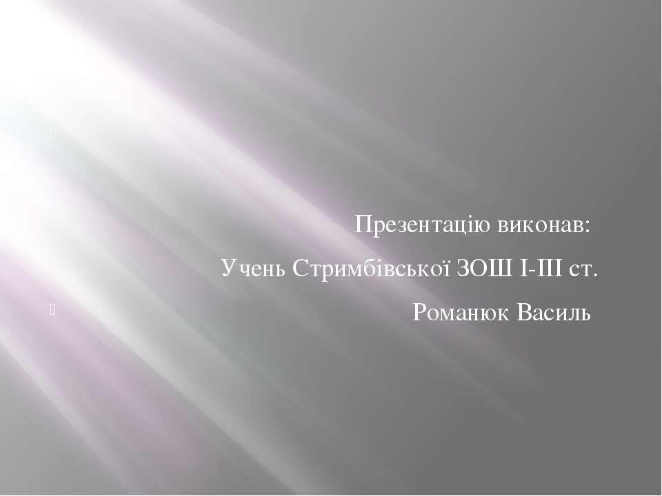 Презентацію виконав: Учень Стримбівської ЗОШ I-III ст. Романюк Василь