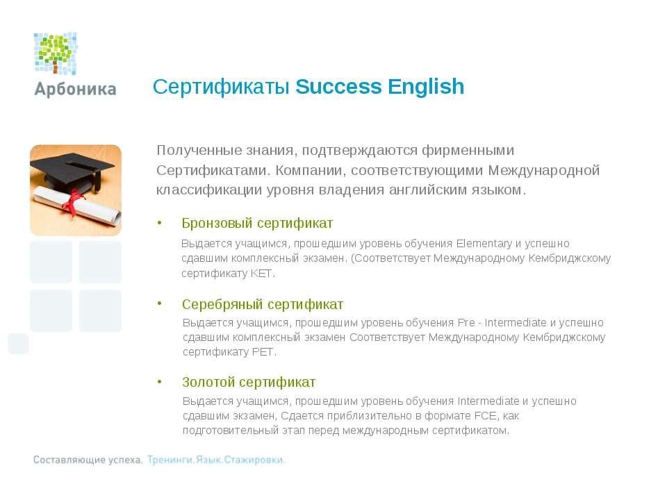 Сертификаты Success English Полученные знания, подтверждаются фирменными Серт...