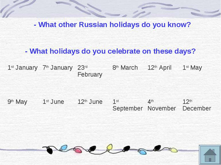 - What other Russian holidays do you know? - What holidays do you celebrate o...