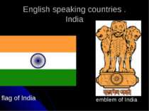 English speaking countries . India flag of India emblem of India