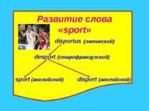 Развитие слова «sport» disportus (латинский) desport (старофранцузский) sport...
