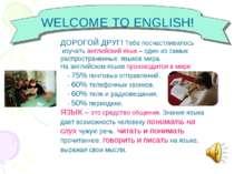 WELCOME TO ENGLISH! ДОРОГОЙ ДРУГ! Тебе посчастливилось изучать английский язы...