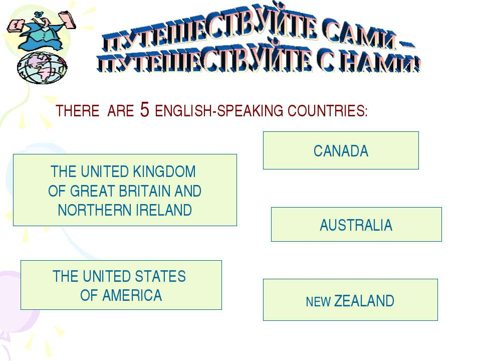 THERE ARE 5 ENGLISH-SPEAKING COUNTRIES: THE UNITED KINGDOM OF GREAT BRITAIN A...