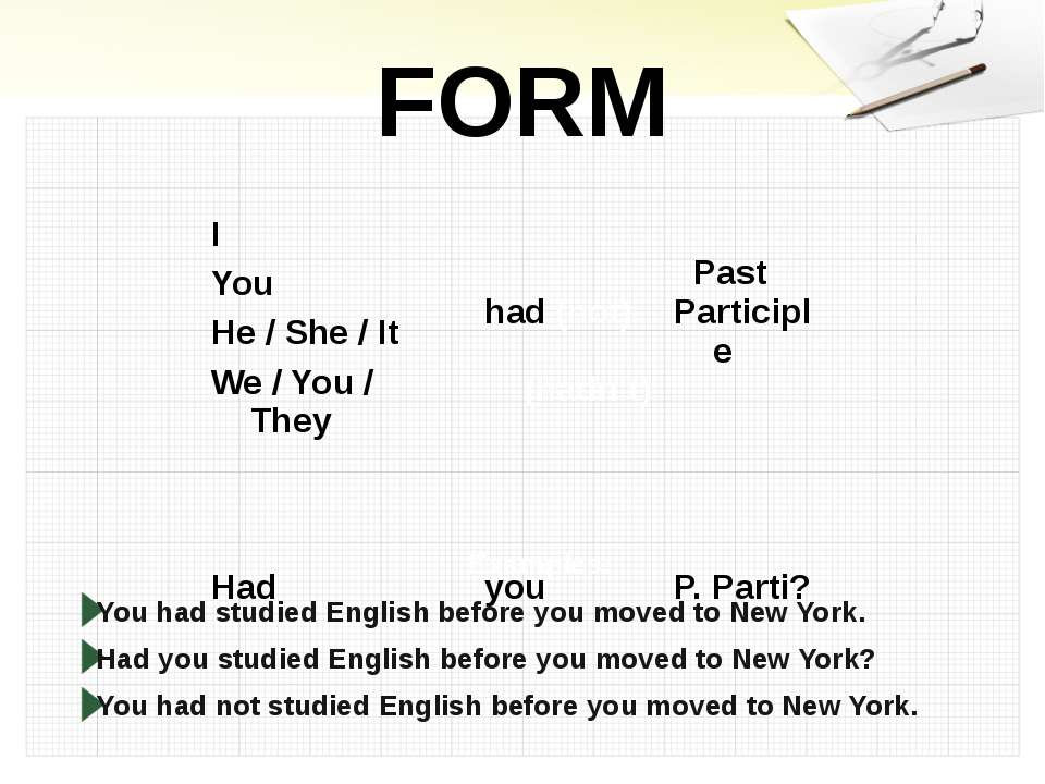 FORM Examples: You had studied English before you moved to New York. Had you ...