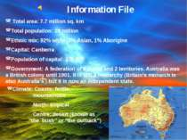 Information File Total area: 7.7 million sq. km Total population: 20 million ...