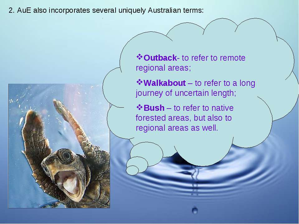 2. AuE also incorporates several uniquely Australian terms: Outback- to refer...