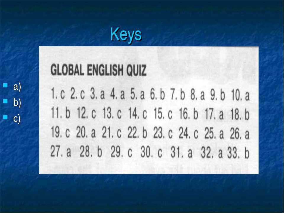 Keys a) b) c)