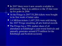 In 2007 there were 6 new awards available to performers. This is in addition ...