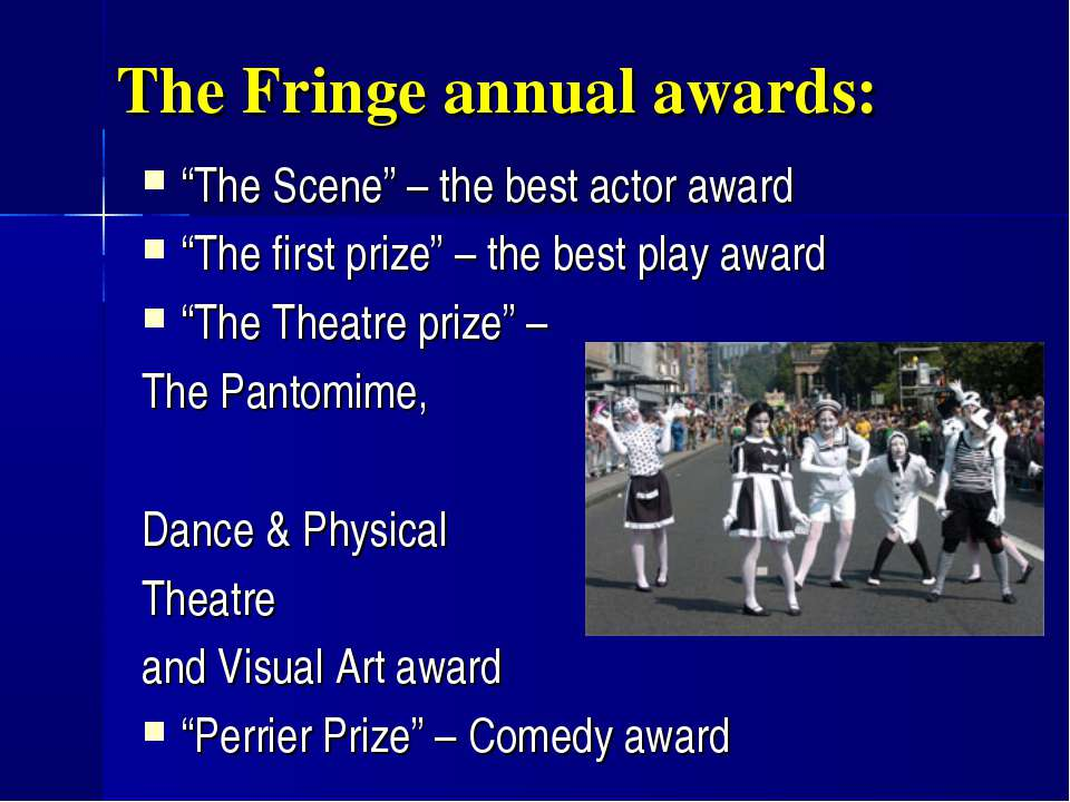"The Fringe annual awards: ""The Scene"" – the best actor award ""The first prize..."
