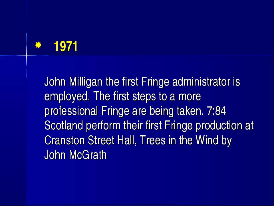 1971 John Milligan the first Fringe administrator is employed. The first step...
