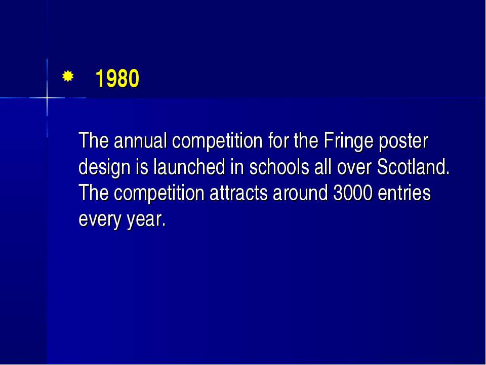 1980 The annual competition for the Fringe poster design is launched in schoo...