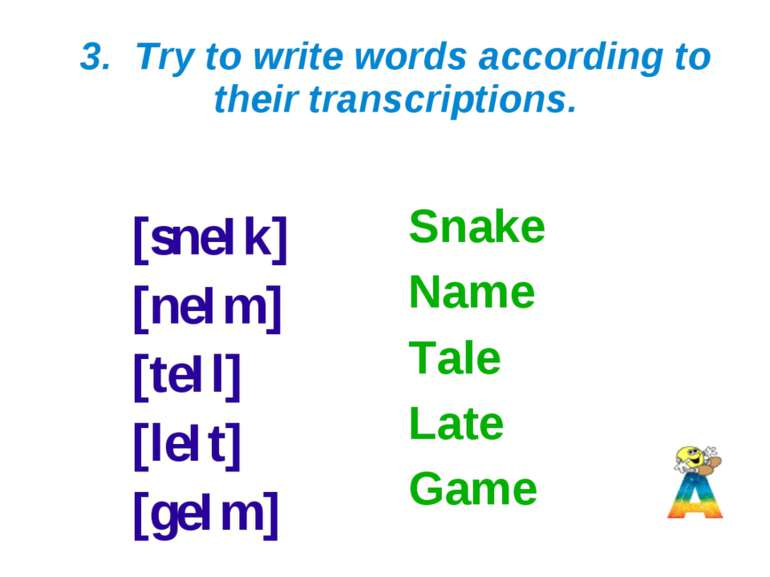 3. Try to write words according to their transcriptions. [sneIk] [neIm] [teIl...