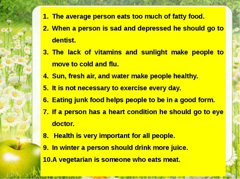 The average person eats too much of fatty food. When a person is sad and depr...